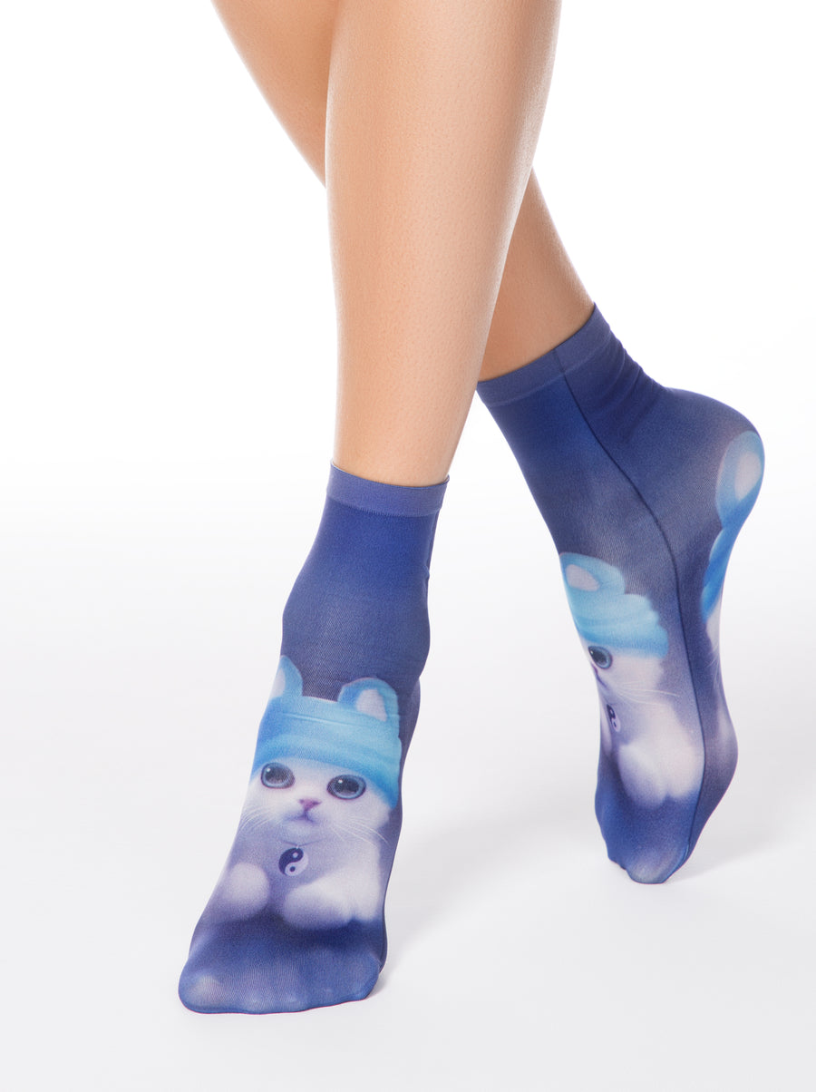 "Conte Elegant ""Cat in the hat"" Socks"