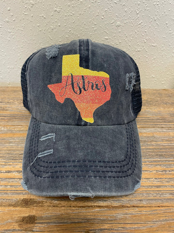 Astros distressed crisscross hat