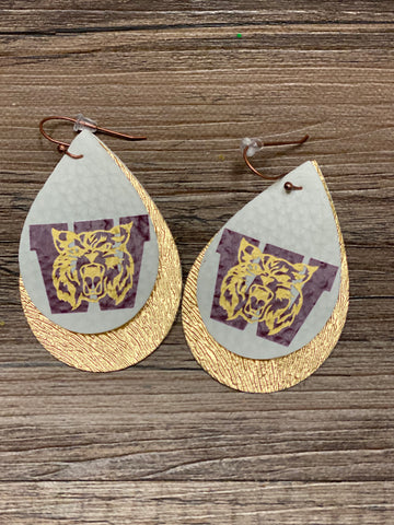 Cy Woods High School Earrings