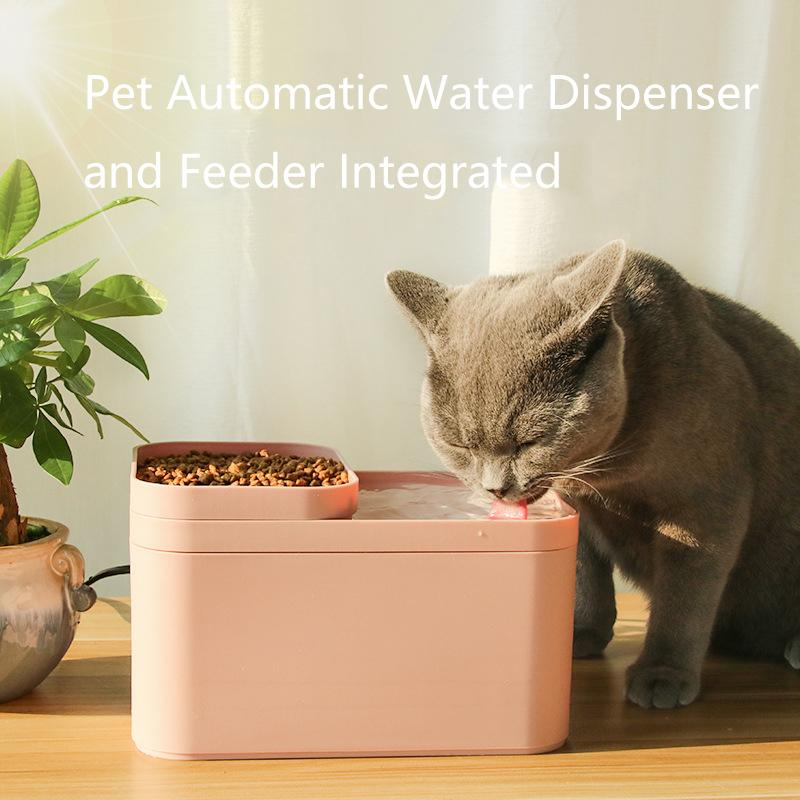 d363a9f0056 2L Pet automatic water dispenser and feeder integrated(Pink colour)