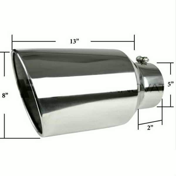 Diesel Exhaust Tip >> 8 Outlet 5 Inlet Chrome Stainless Steel 15 Long Bolt On Diesel Exhaust Tip