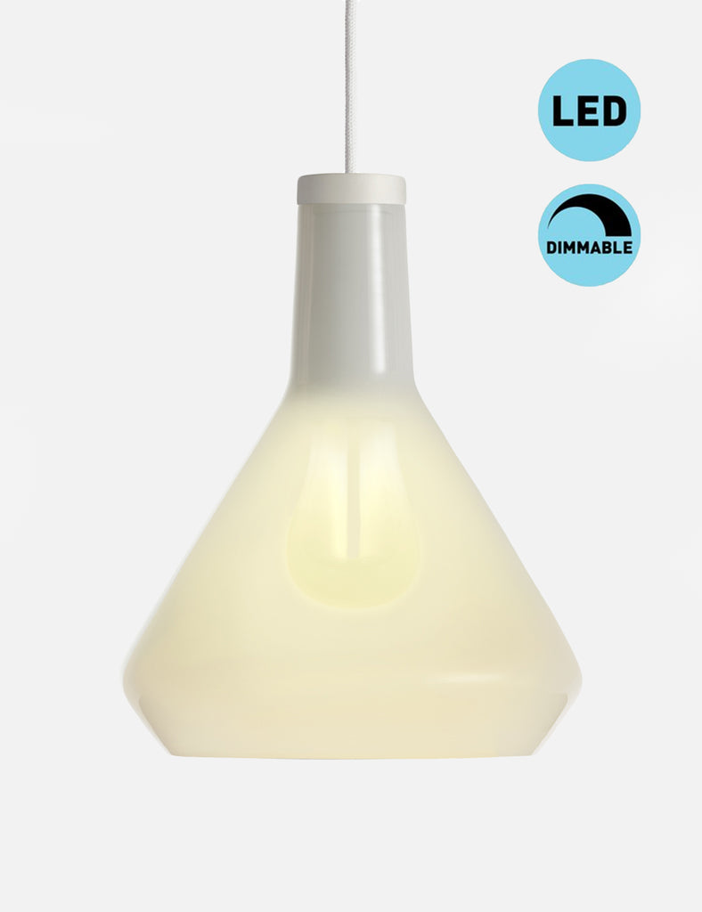 White Drop Top Lamp Shade Set with Plumen 002 LED Bulb