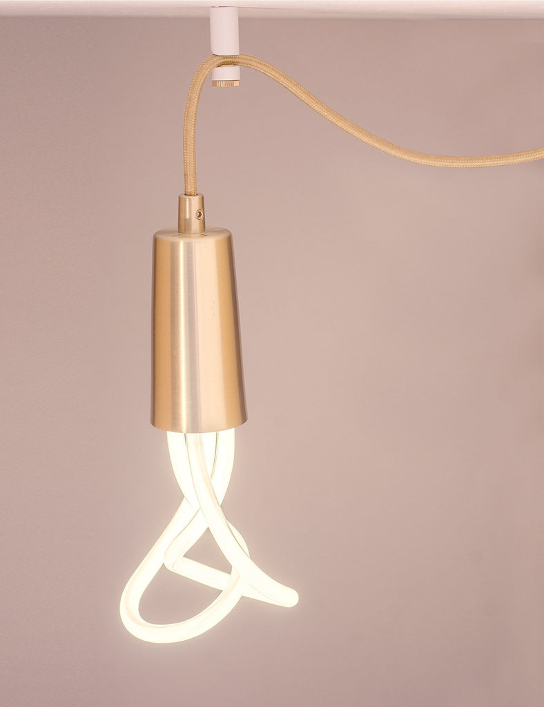 white ceiling hook with brass screw and brass drop cap pendant