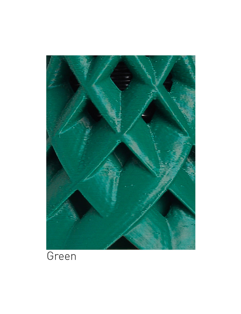 close up of green ruche 3D printed shade