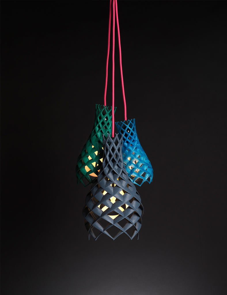ruche 3d green blue and black lamp shade in cluster