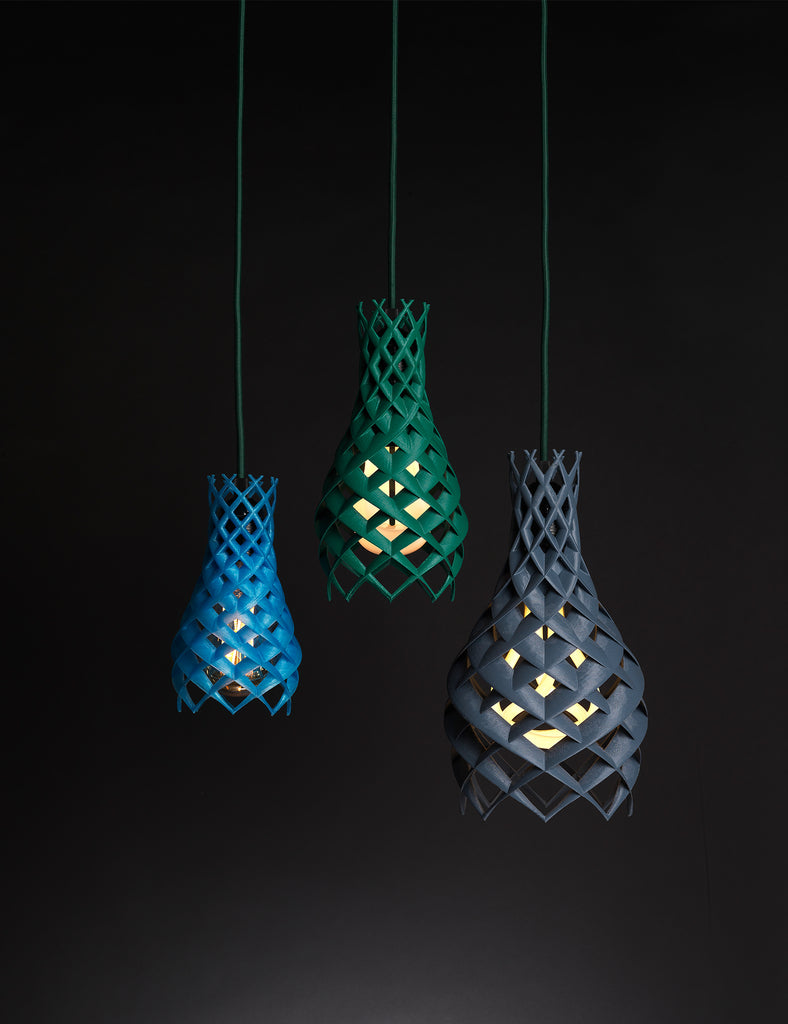 ruche 3d green blue and black lamp shade with plumen 002