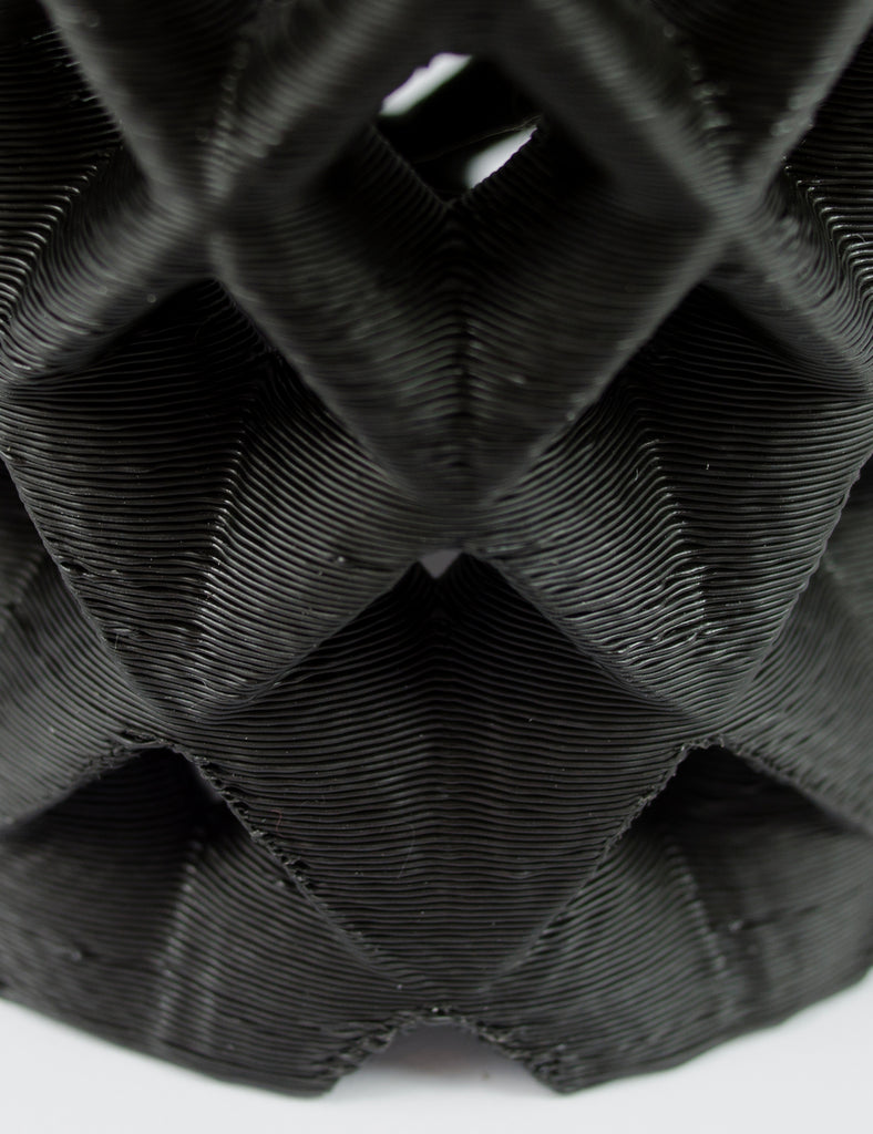 close up of black ruche 3D printed shade