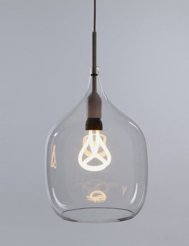 Clear Glass Lamp Shade: Vessel Large Shade in Clear with Plumen 001 Bulb,Lighting