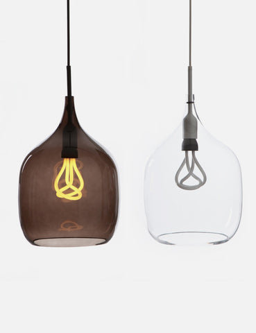 Vessel Large Shade in Smoked Grey Glass with Original Plumen 001