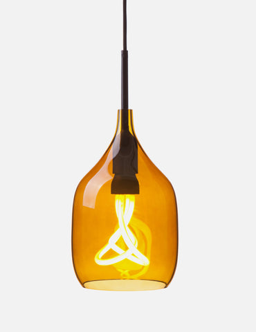 Vessel Small Lamp Shade - Flat Cut - Bronze Glass with Plumen 001 Bulb