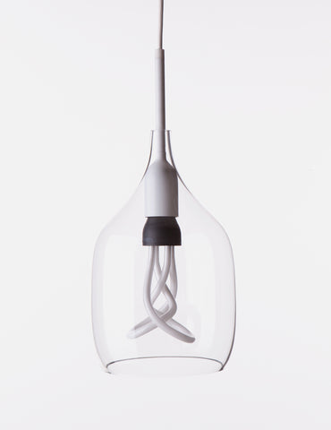 Vessel Small Lamp Shade - Flat Cut - Clear Glass with Plumen 001 Bulb