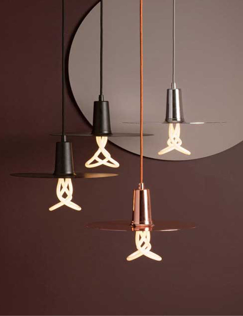 Black Copper and Chrome drop hat chandelier lifestyle photo with 001 bulb