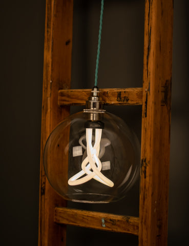 Hereford Globe Pendant Light With Plumen 001 LED Light Bulb