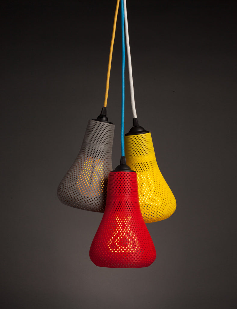 Plumen 001 and 002 with Kayan shade in grey, red, yellow