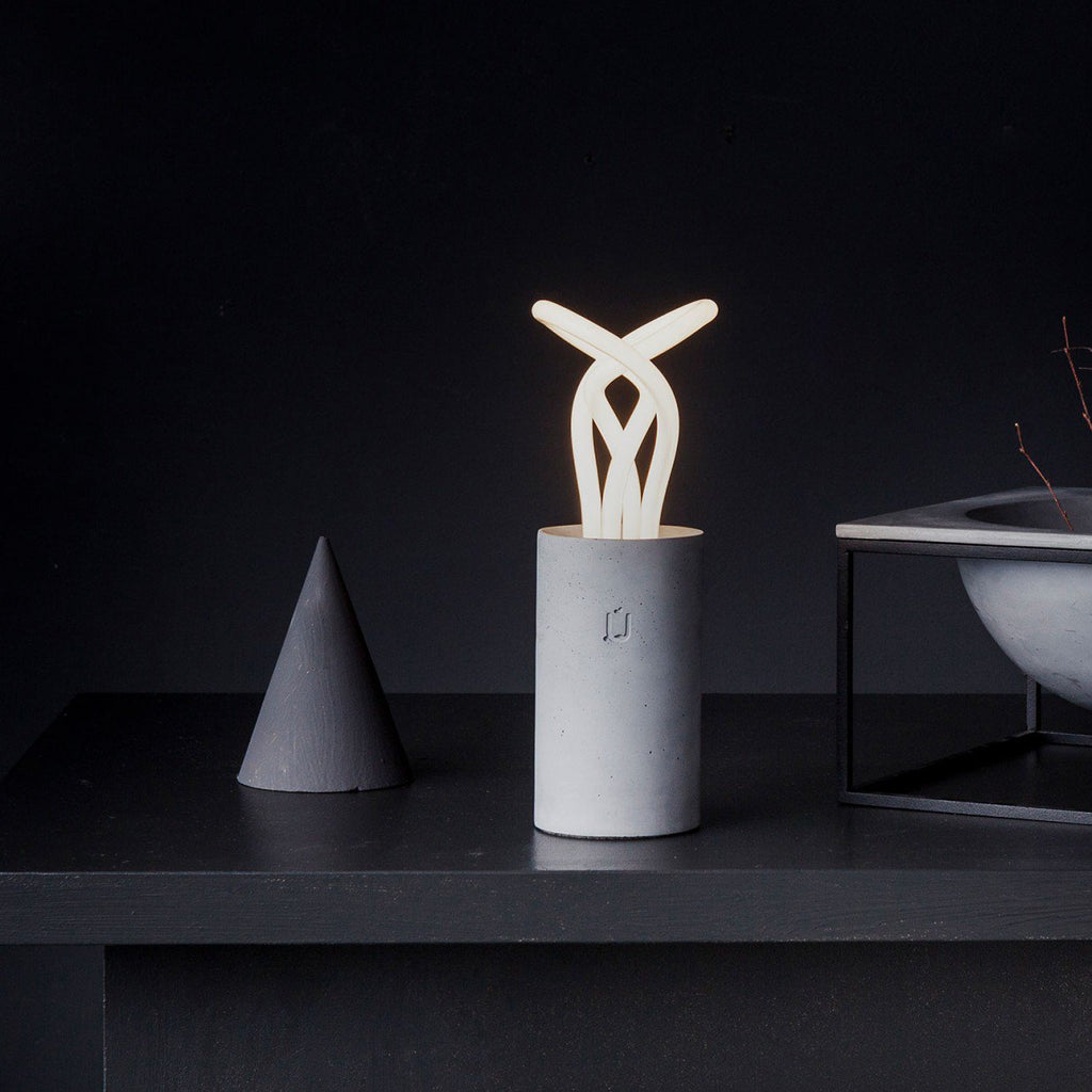 PLUM White Concrete Table Lamp By Unrefined