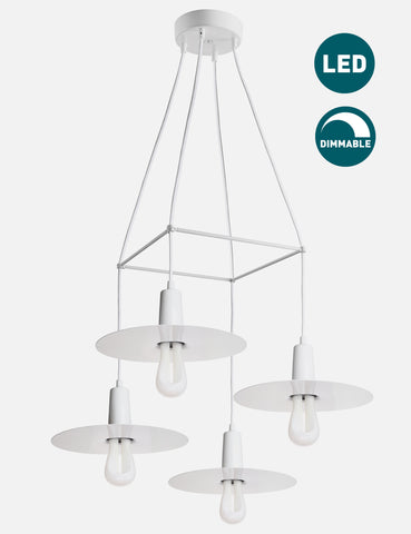 4 Way Drop Hat Chandelier