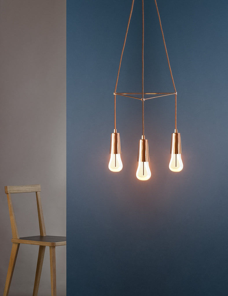 Copper drop cap plumen chandelier with 002 bulb