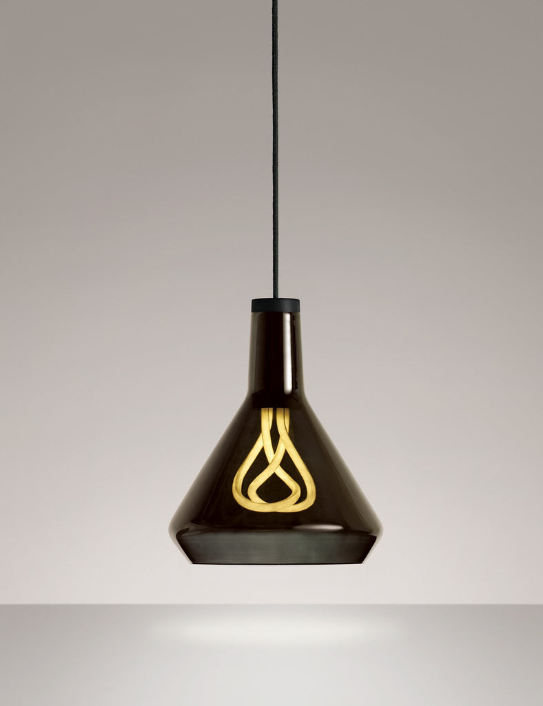 Plumen 001 with drop top shade black and pendant