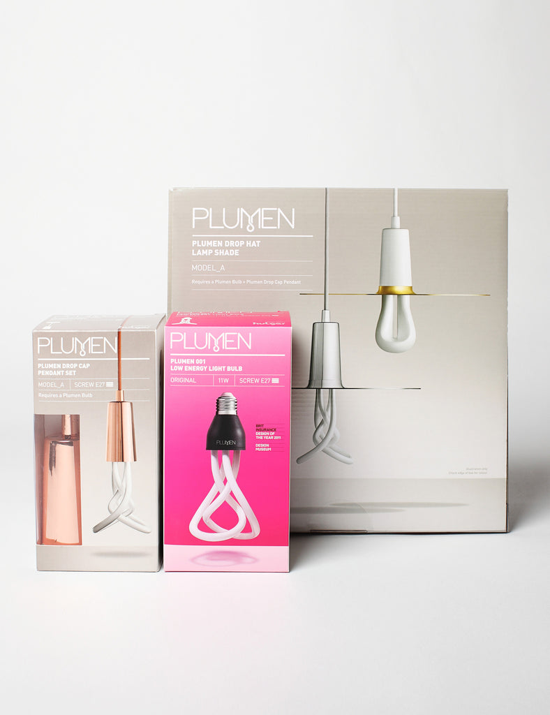 Drop Hat Lamp Shade Set with Plumen 001 LED Bulb