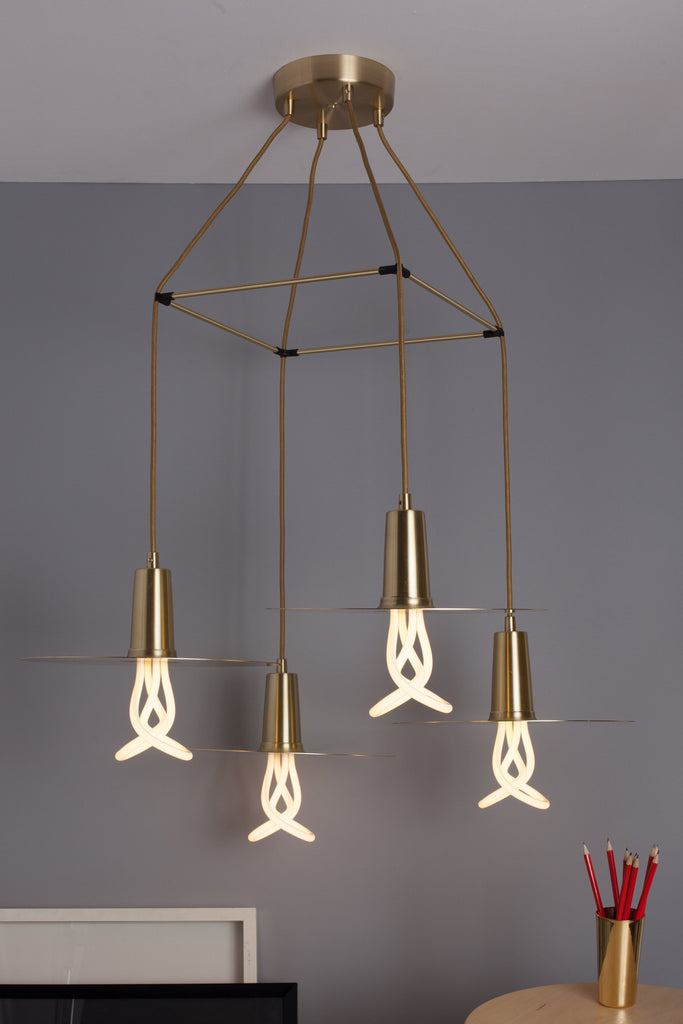 plumen 001 with drop hat chandelier brass