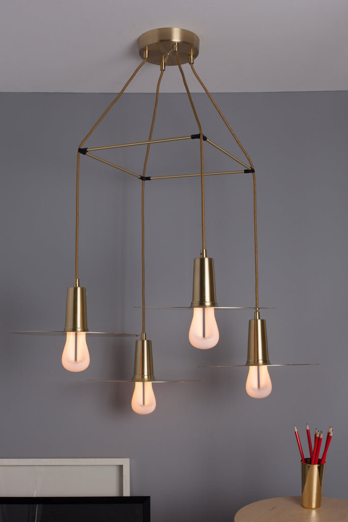 plumen 002 with drop hat chandelier brass