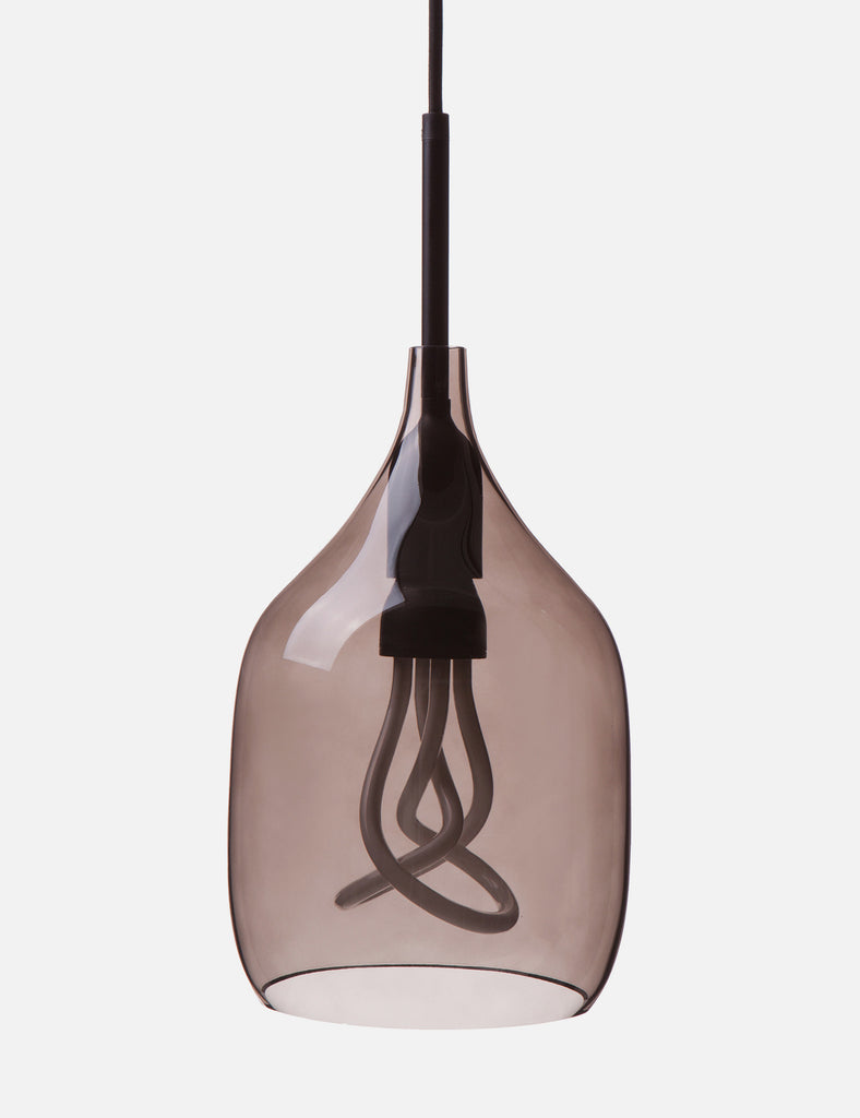 Vessel Small Lamp Shade - Flat Cut - Grey Glass with Plumen 001 LED