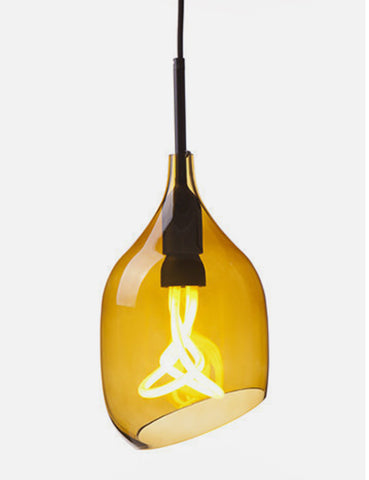Vessel 2 Lamp Shade - Diagonal Cut - Bronze Glass with Plumen 001 Bulb