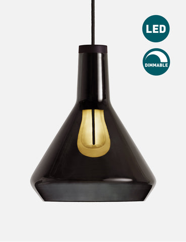 Black Drop Top Lamp Shade Set with Plumen 002 LED Bulb