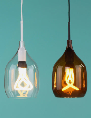 Vessel Small Lamp Shade - Flat Cut - Clear Glass with Plumen 001 LED