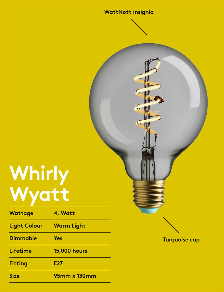 WHIRLY WYATT - WARM WHITE LIGHT - DIMMABLE LED
