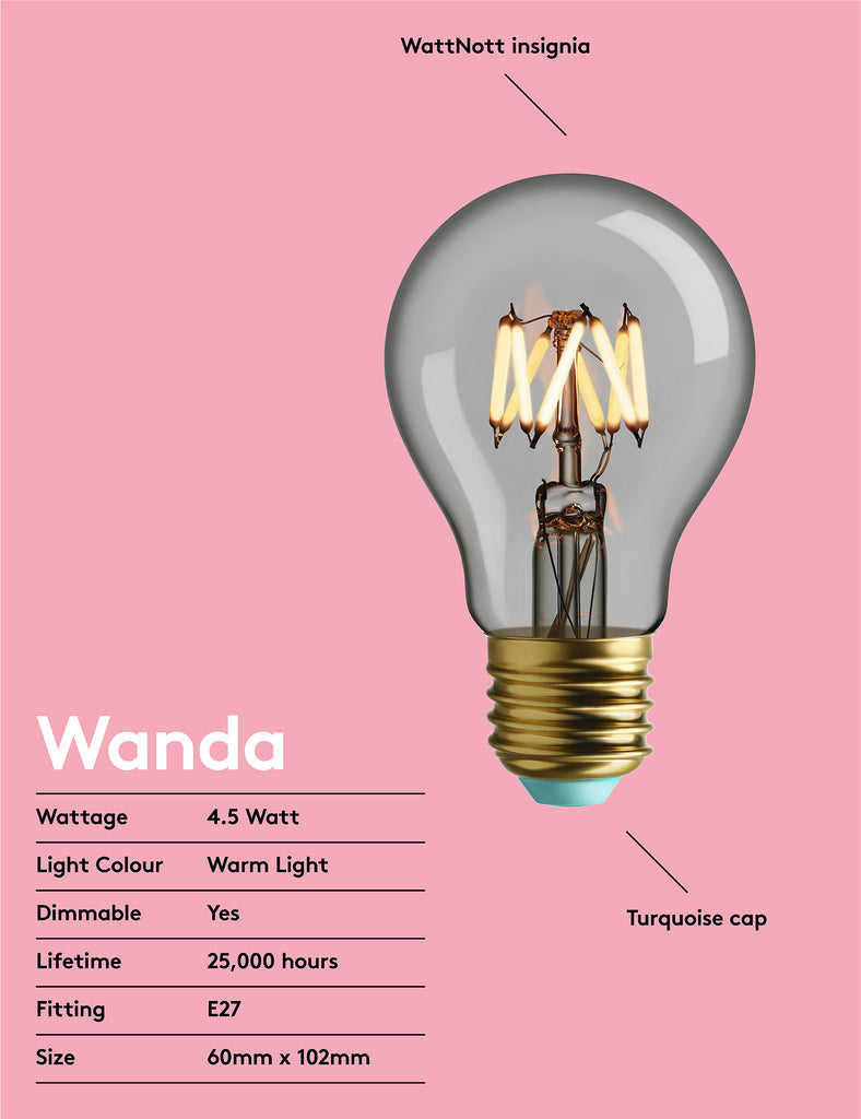 WattNott Whirly wanda LED lightbulb clear description