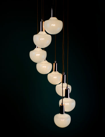 Wilma Milky 8 Way Pendant Chandelier Set Copper