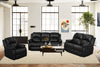 5 Recliner Black 3pc Sofa Lovesat Chair Set - MEGAFURNISHING