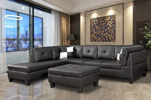 Black Nail Head 3 Piece Sectional Set Lift -Facing chaise Free Storage Ottoman - MEGAFURNISHING