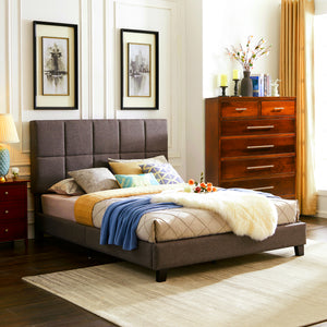 Brown Upholstered Sleigh Queen Bed - MEGAFURNISHING