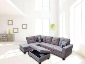 3 PC Sectional Sofa Set (Light Brown) Linen Left -Facing Chaise with Free Storage Ottoman - MEGAFURNISHING