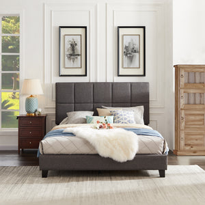 Gray Upholstered Sleigh Queen Bed - MEGAFURNISHING