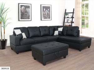 Sectional 3 PC set Black Faux Leather Right -Facing Chaise - MEGAFURNISHING