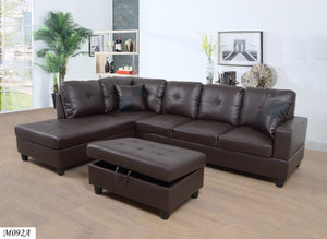 3 PC Sectional Sofa Set, (Brown) Faux Leather Lift -Facing Chaise with Free Storage Ottoman, - MEGAFURNISHING
