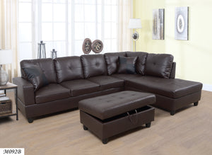 3 PC Sectional Sofa Set, (Brown) Faux Leather Right -Facing Chaise + Free Storage Ottoman - MEGAFURNISHING