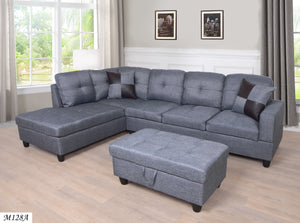 MEGA Furnishing 3 PC Sectional Sofa Set, Gray Linen Lift -Facing Chaise with Free Storage Ottoman - MEGAFURNISHING