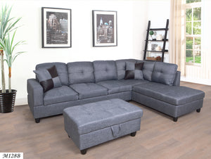 3 PC Sectional Sofa Set, Gray Linen Right -Facing Chaise with Free Storage Ottoman - MEGAFURNISHING