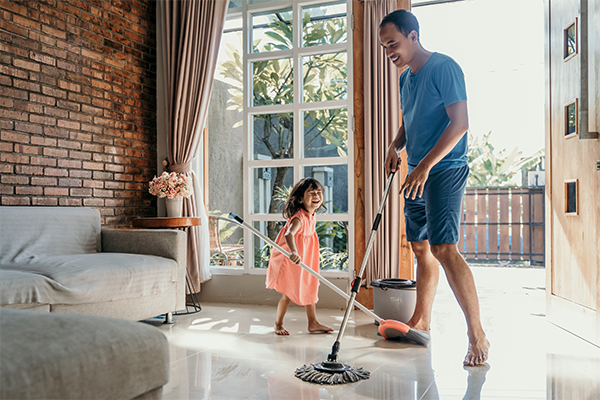 Sweeping And Mopping The Floor