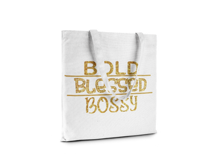 Tote-Bold Blessed Bossy-Gold/White