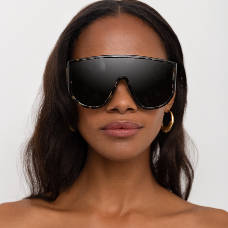 The Attico Iman Shield Sunglasses in Black