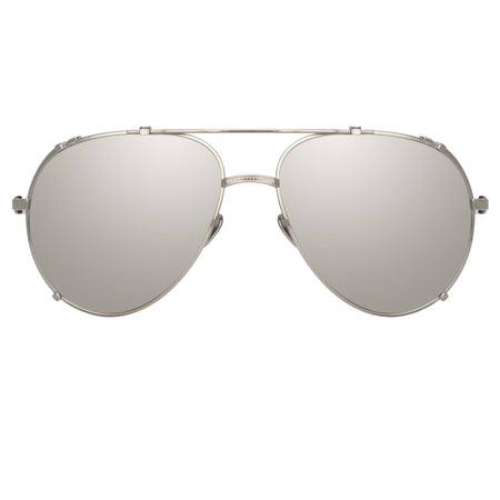 Newman Aviator Sunglasses in White Gold and Silver