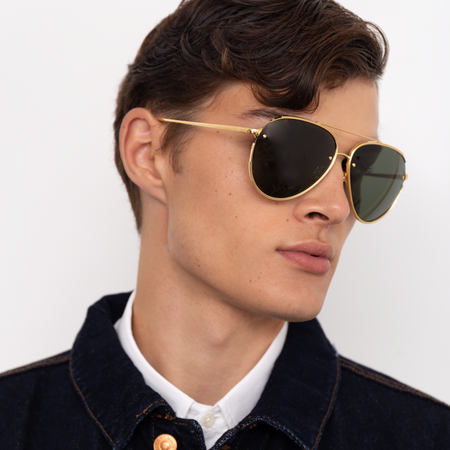 Russo Aviator Sunglasses in Yellow Gold