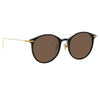 Linda Farrow Linear Gray C9 Oval Sunglasses