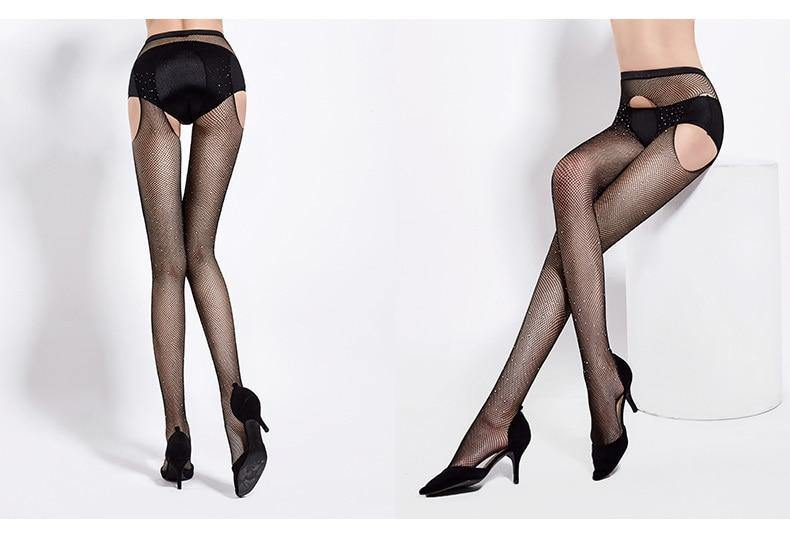 Open Crotch Fishnet Rhinestone Pantyhose