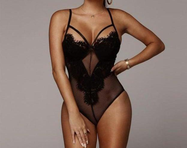 Sexy Deep V Lace Bodysuit - Trade Power